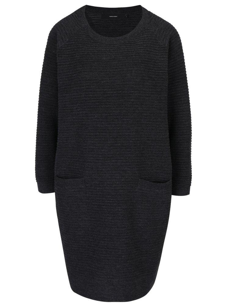 Rochie pulover gri inchis cu buzunare VERO MODA Natascha
