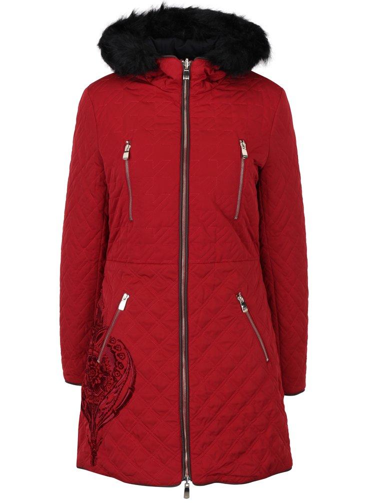 Červený oboustranný dlouhý kabát s kožíškem Desigual Azul
