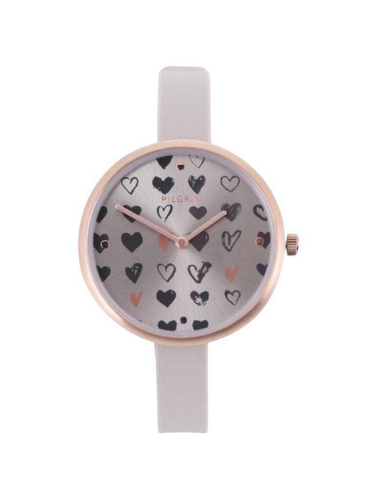 Pozlacené hodinky v růžovozlaté barvě se silikonovým páskem Pilgrim