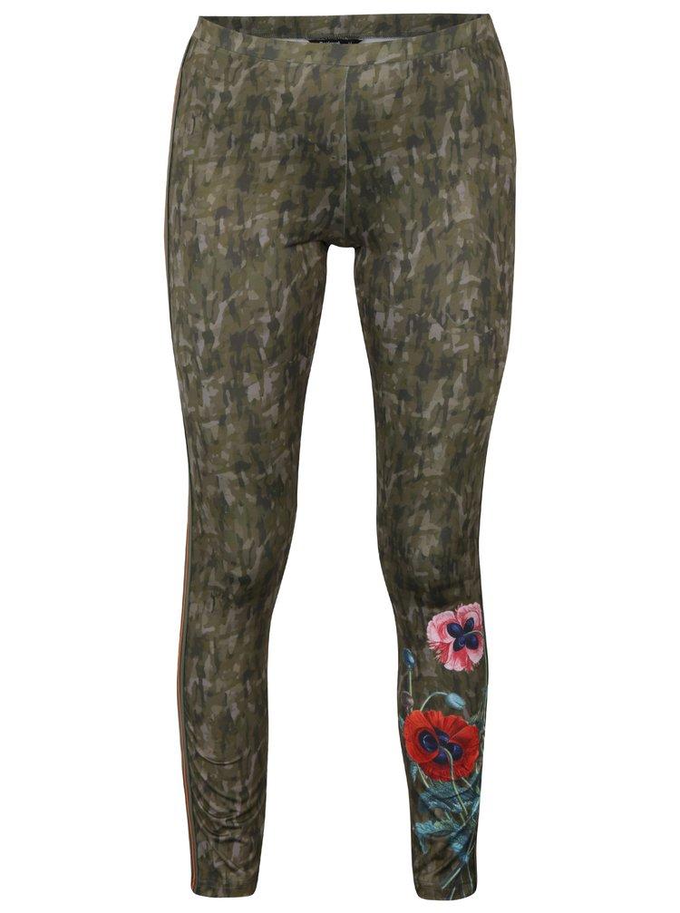 Khaki maskáčové legíny s potiskem květin Desigual Ayrton