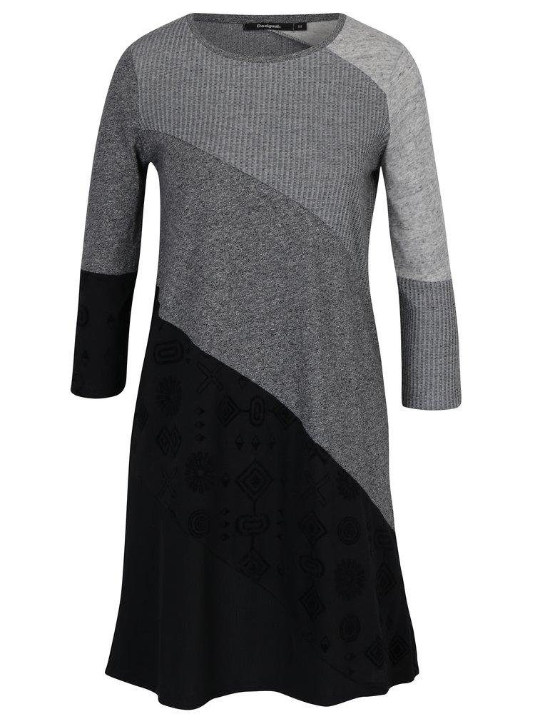 Černo-šedé pruhované šaty s 3/4 rukávy Desigual Amber