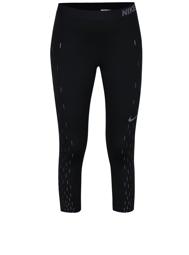 Čierne dámske funkčné 3/4 legíny s potlačou Nike