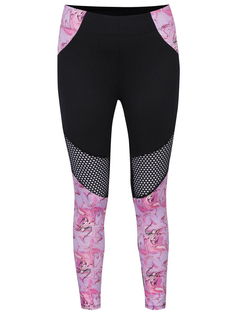 Colanti negru&roz cu model floral si insertii din plasa Noisy May No
