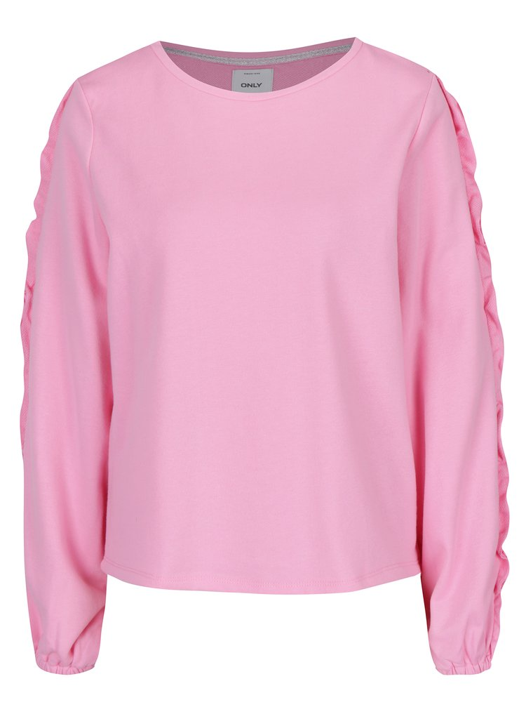 Bluza roz cu maneci lungi decorate cu volanase ONLY Misty