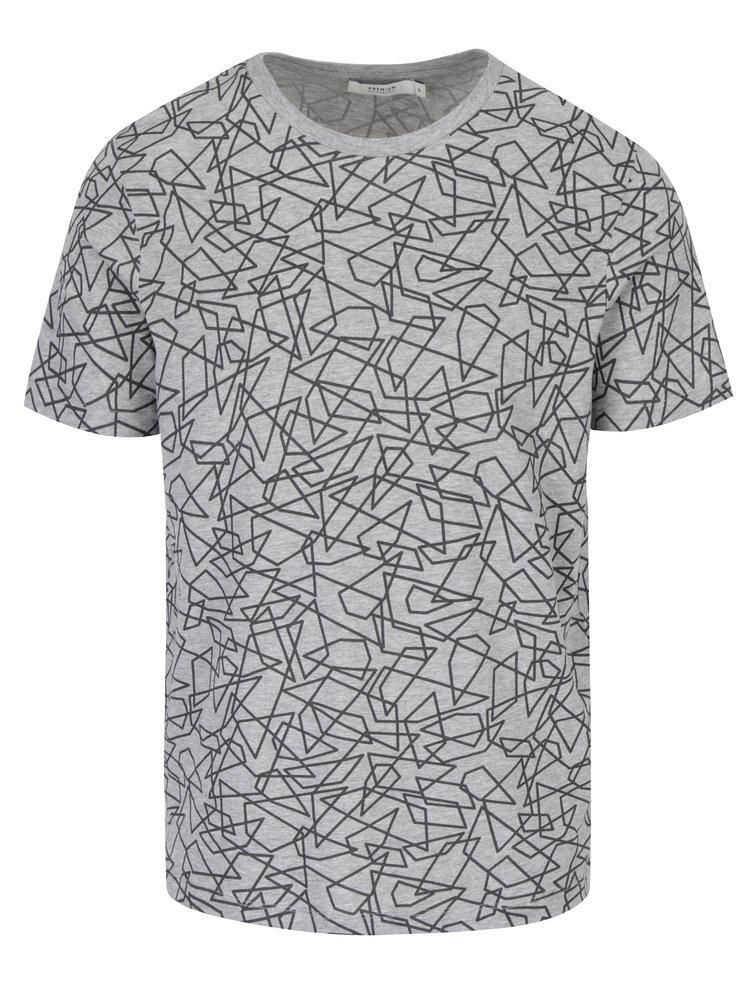 Tricou gri cu model geometric Jack & Jones Premium Motive