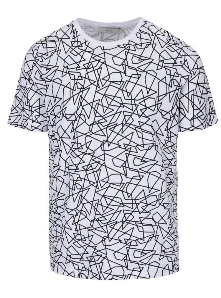Bílé vzorované tričko Jack & Jones Premium Motive