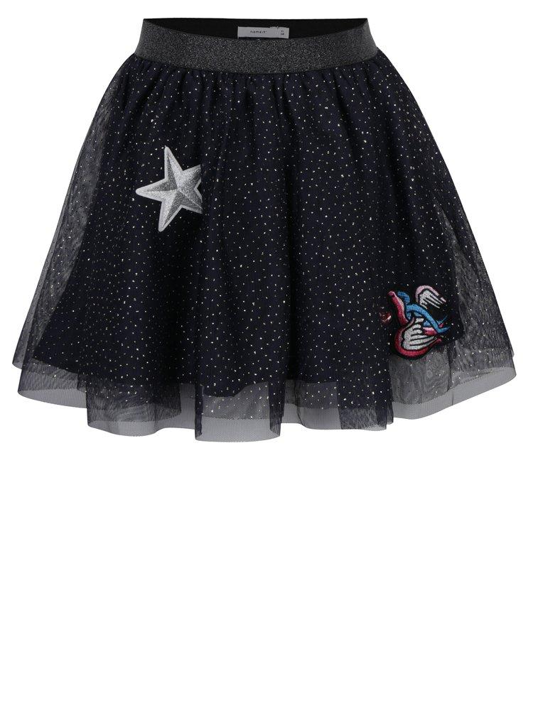 Tmavě modrá holčičí tylová sukně s nášivkami Name it Mala