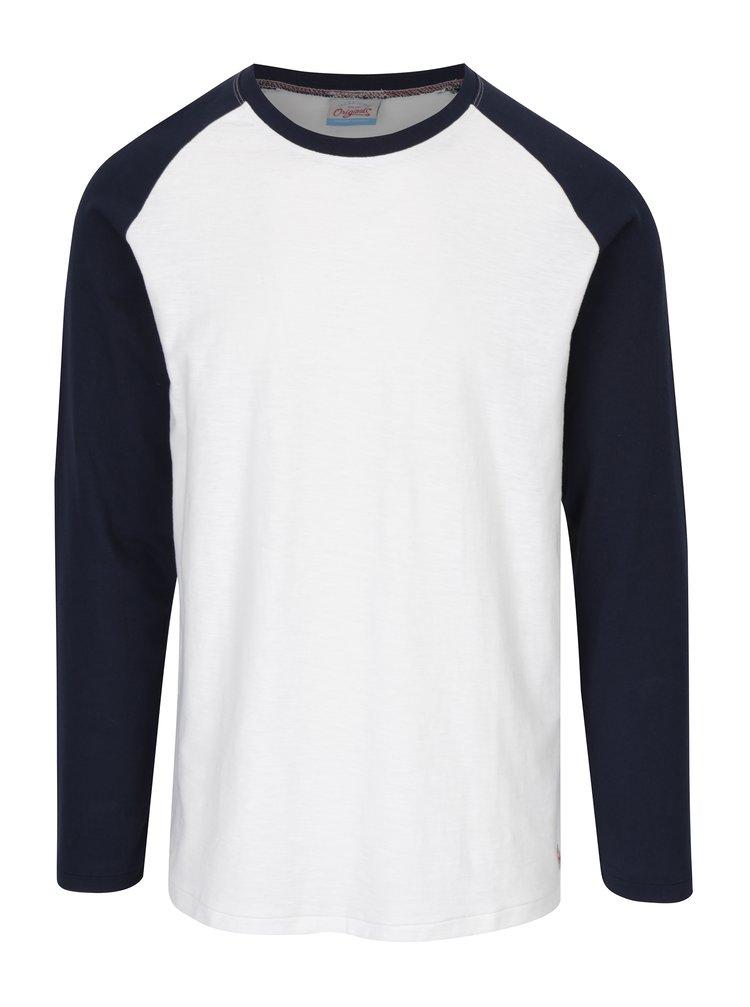 Modro-krémové tričko s dlhým rukávom Jack & Jones New Stan