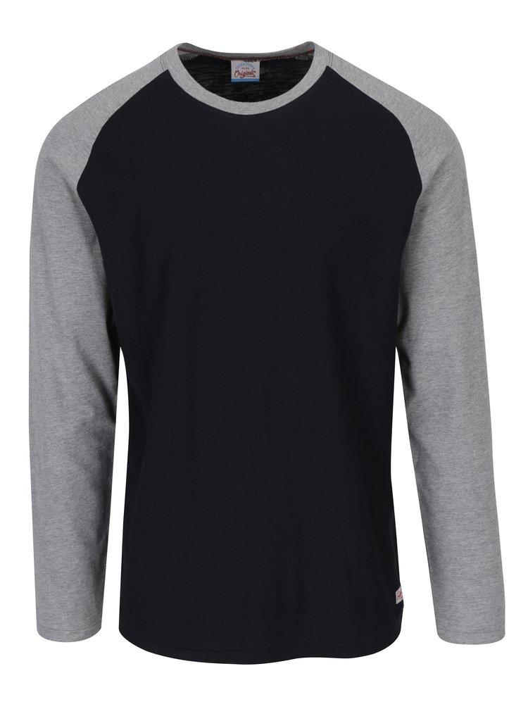 Sivo-čierne tričko s dlhým rukávom Jack & Jones New Stan