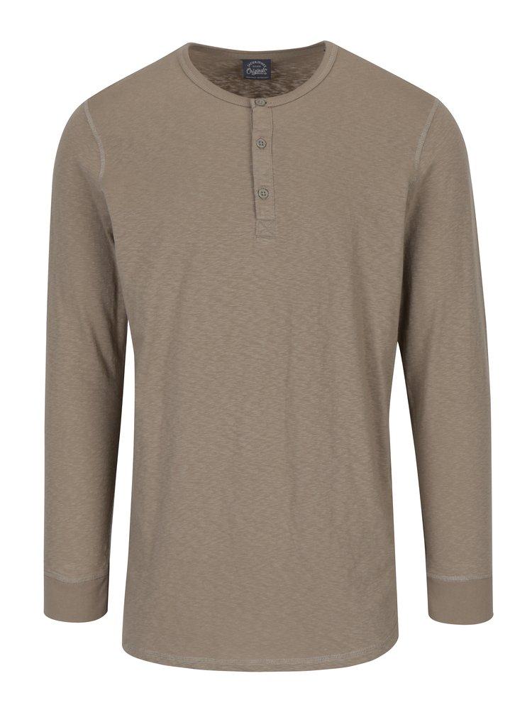 Bluza bej din bumbac cu maneci lungi Jack & Jones Stitch
