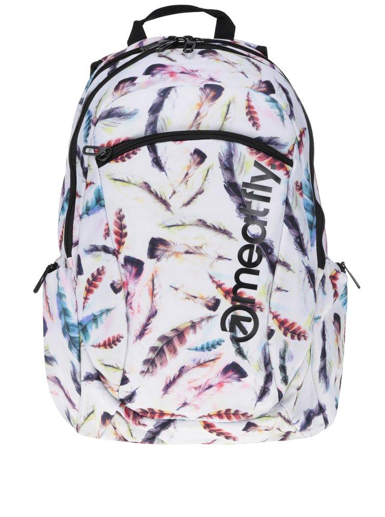 Bílý dámský batoh s motivem pírek Meatfly Purity 26 l