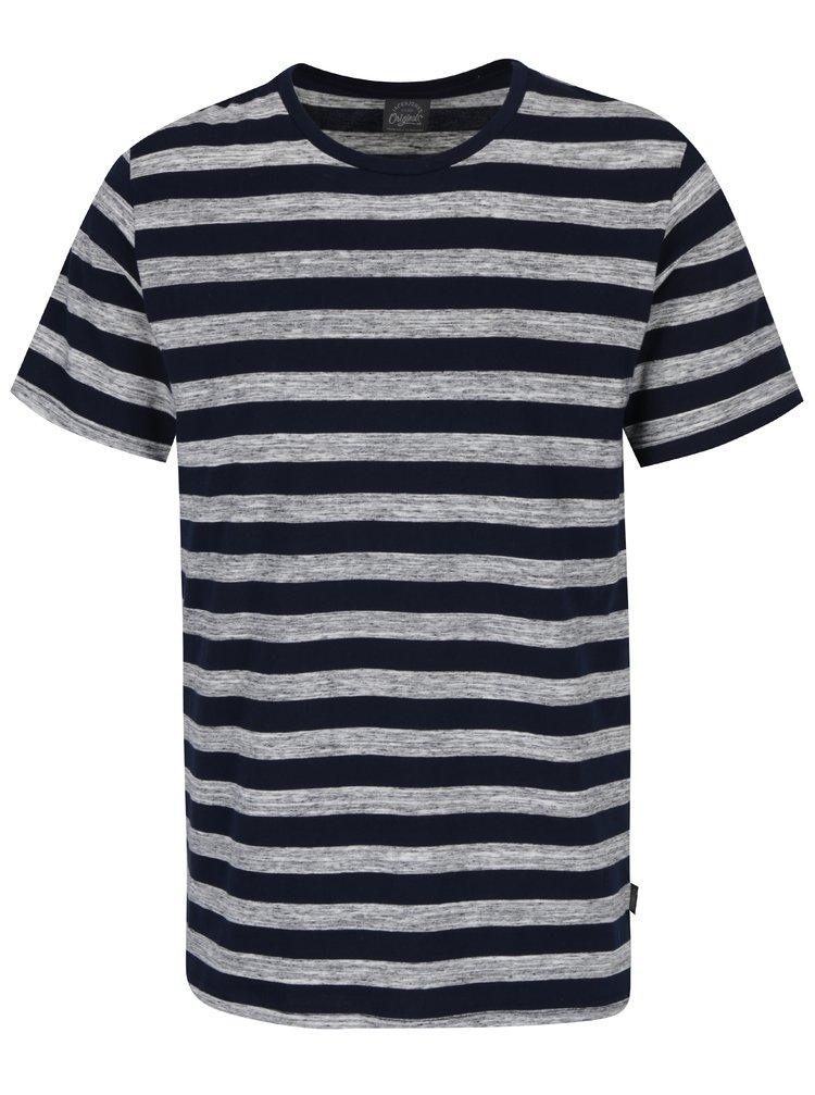 Tricou bleumarin & gri cu model in dungi Jack & Jones Cinnema