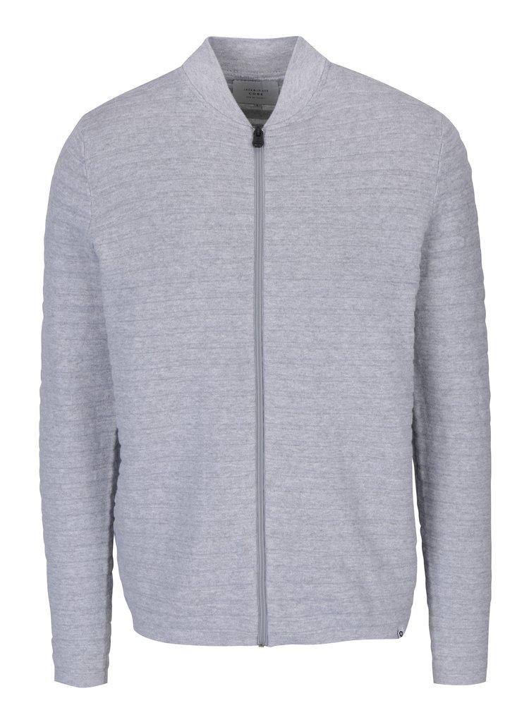 Světle šedý žebrovaný cardigan & Jones Hugo