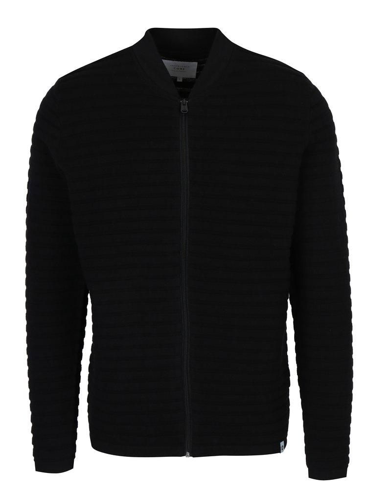 Pulover negru cu model striat si fermoar Jack & Jones Hugo