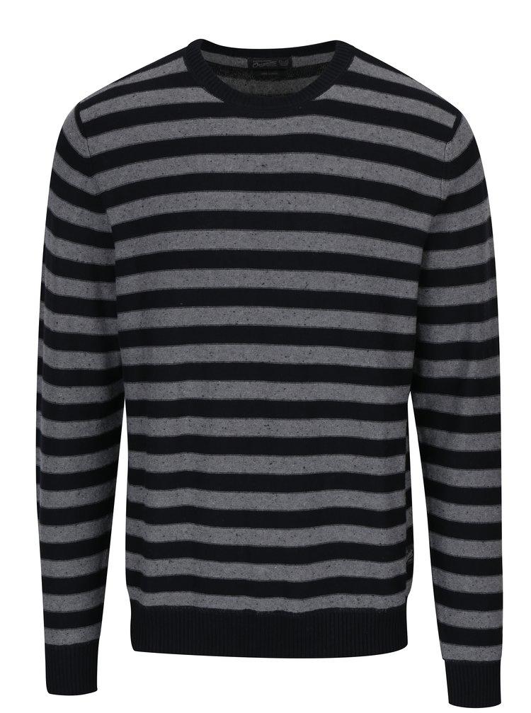 Pulover negru&gri din jerseu cu model in dungi Jack & Jones Wall