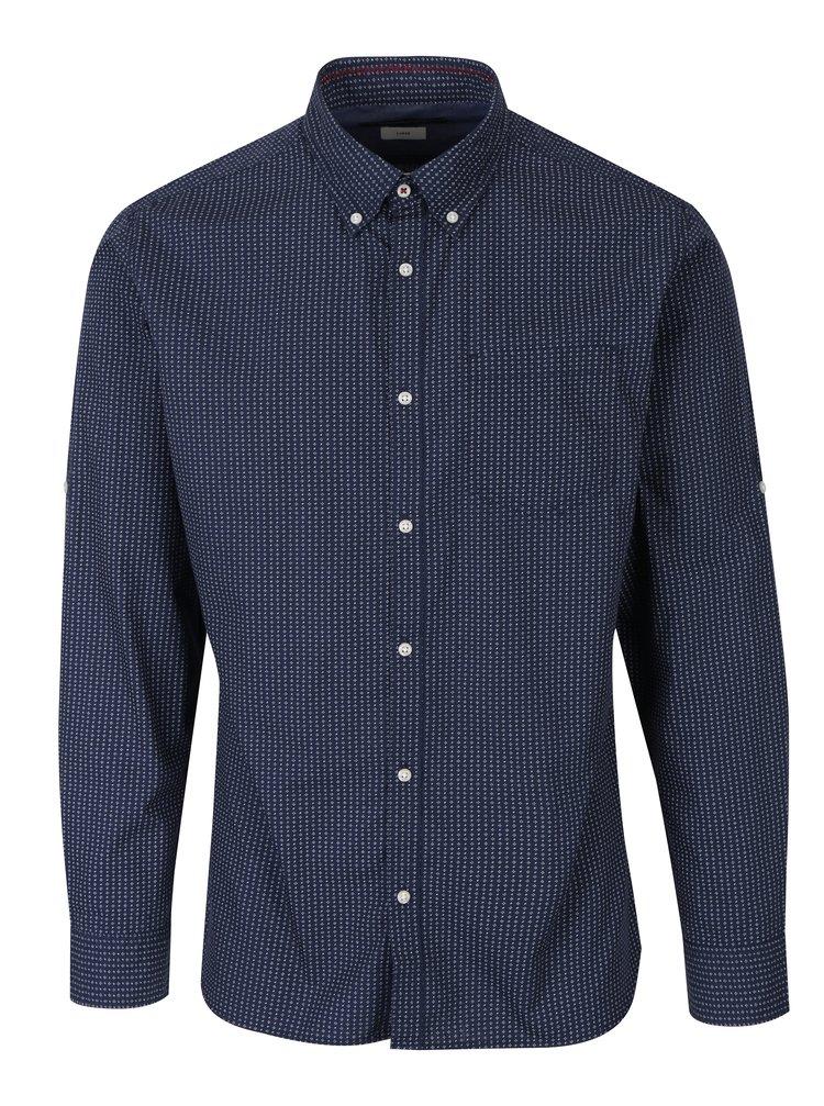 Tmavě modrá slim fit košile s jemným vzorem Jack & Jones Bosco