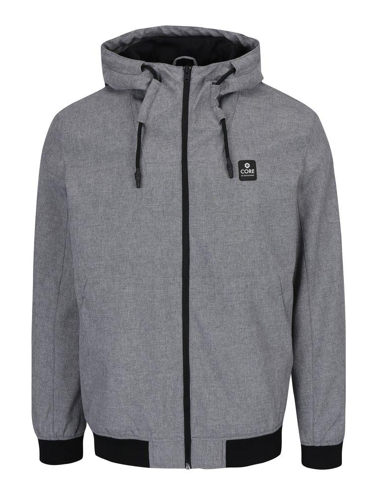 Světle šedá nepromokavá bunda s kapucí Jack & Jones Max