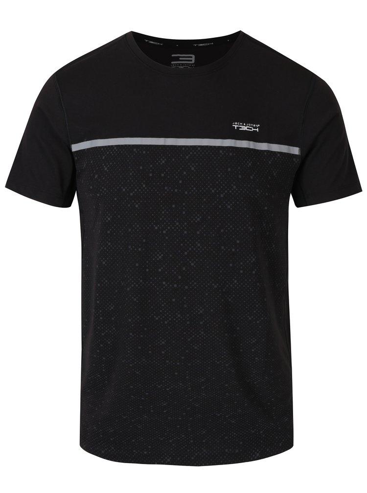 Tricou negru functional cu imprimeu discret - Jack & Jones Trigger