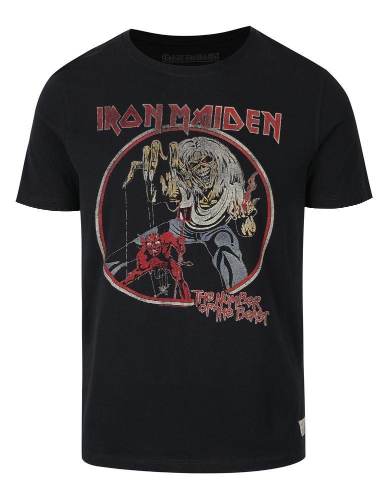 Tricou negru din bumbac cu print Iron Maiden - Jack & Jones Rock