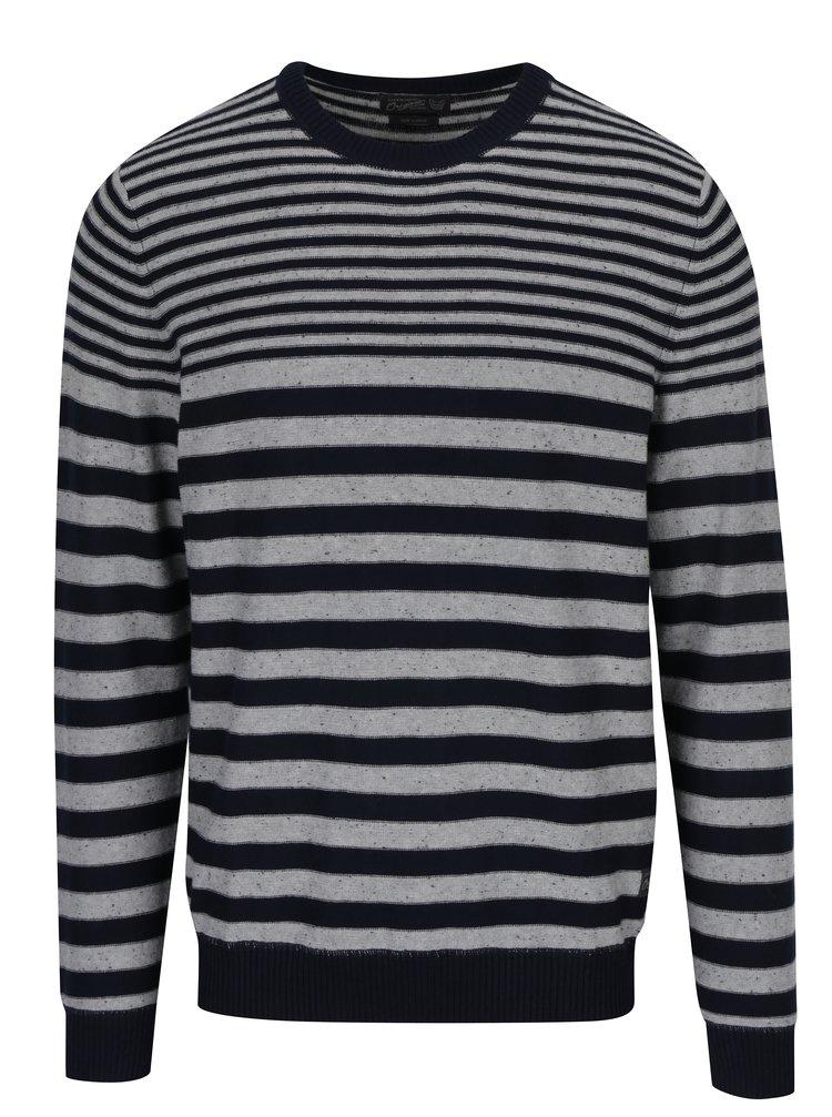 Pulover gri&bleumarin din jerseu cu model in dungi Jack & Jones Wall