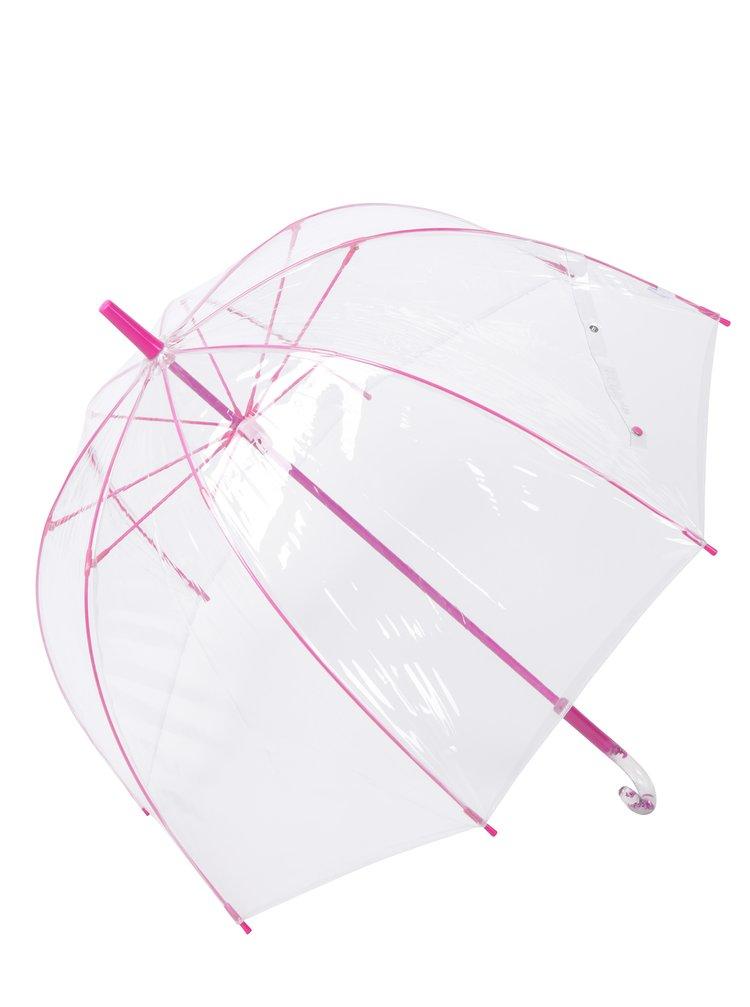 Transparentný dáždnik s detailmi v ružovej farbe Lindy Lou Pinky Dome