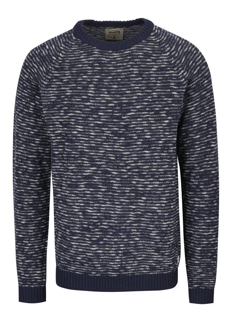 Pulover tricotat bleumarin & crem Jack & Jones Joey
