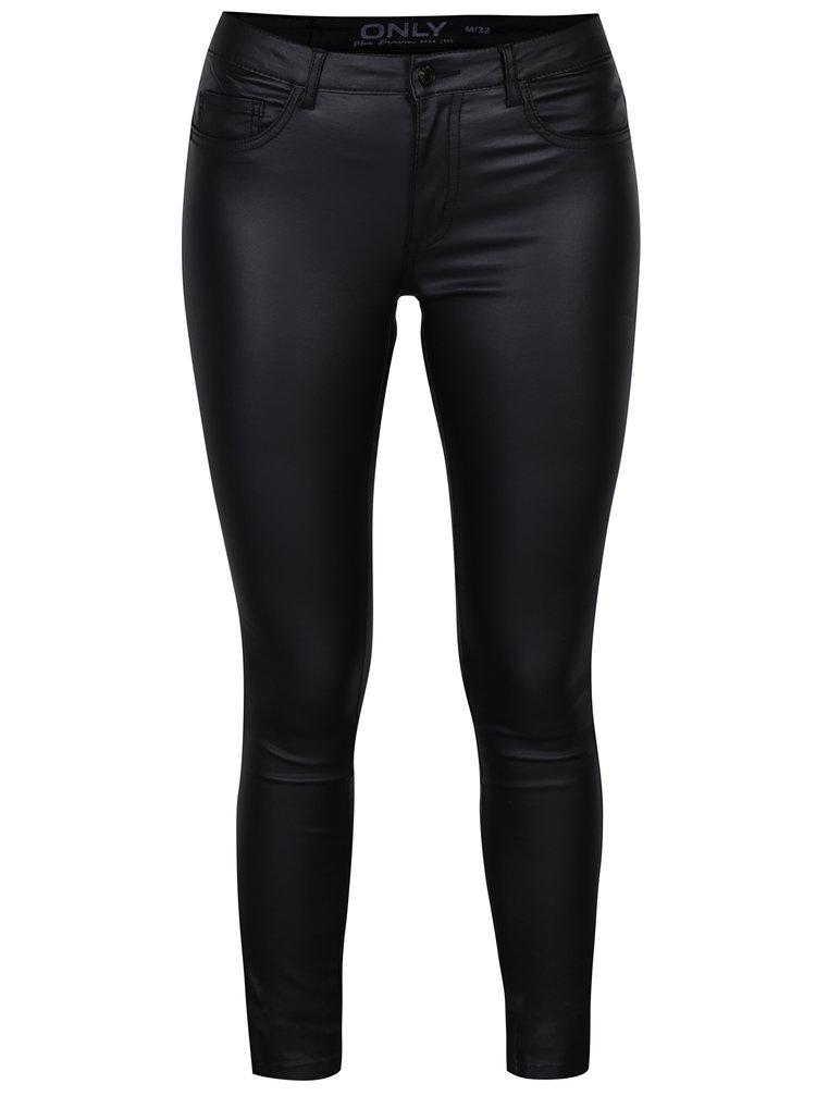 Černé koženkové skinny kalhoty ONLY Royal