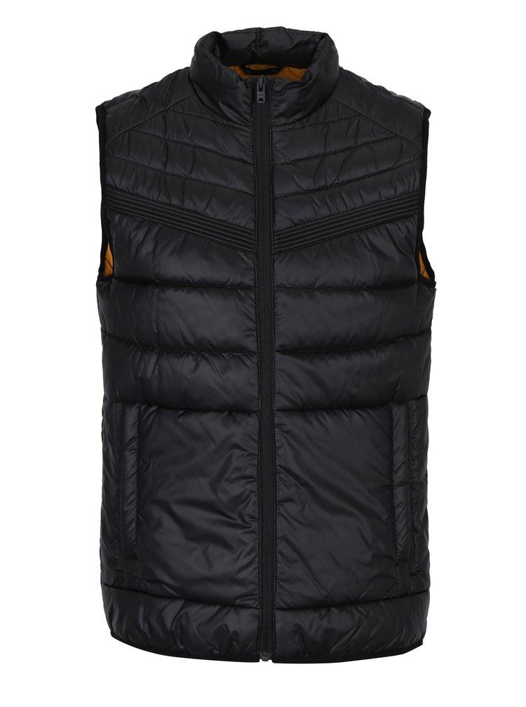 Černá prošívaná vesta s kapsami Jack & Jones Gavin