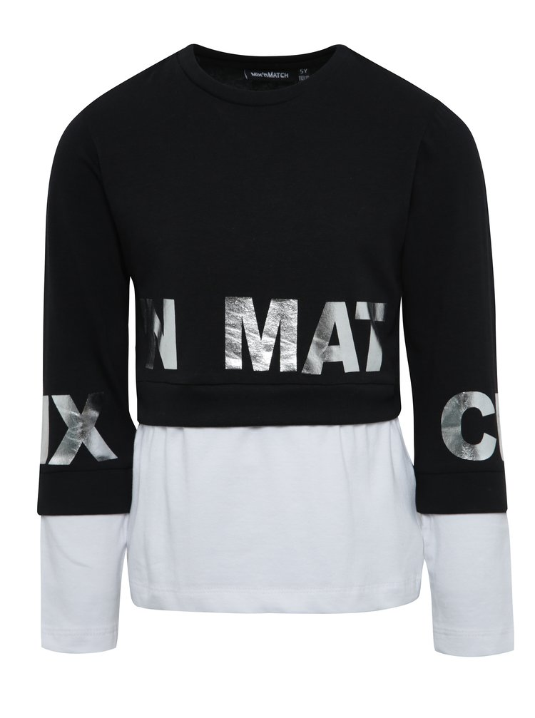 Černo-bílé holčičí tričko s dlouhým rukávem Mix´n Match