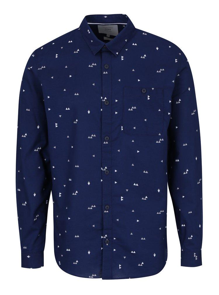 Tmavě modrá vzorovaná slim fit košile Jack & Jones Triton