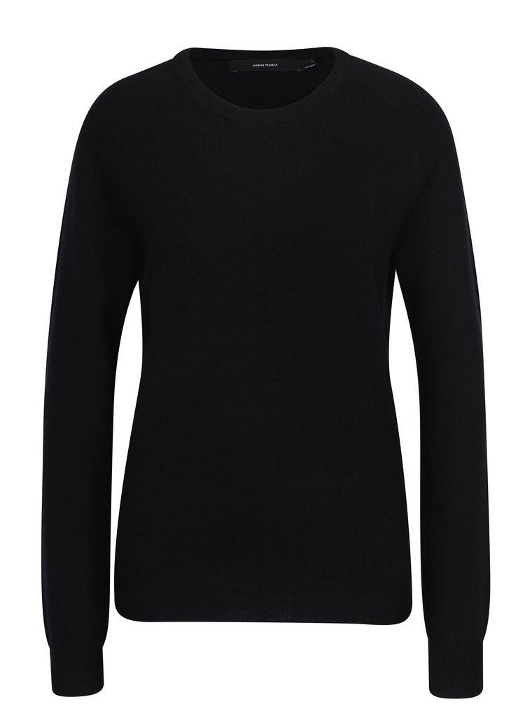 Černý vlněný lehký svetr s příměsí kašmíru VERO MODA Douce