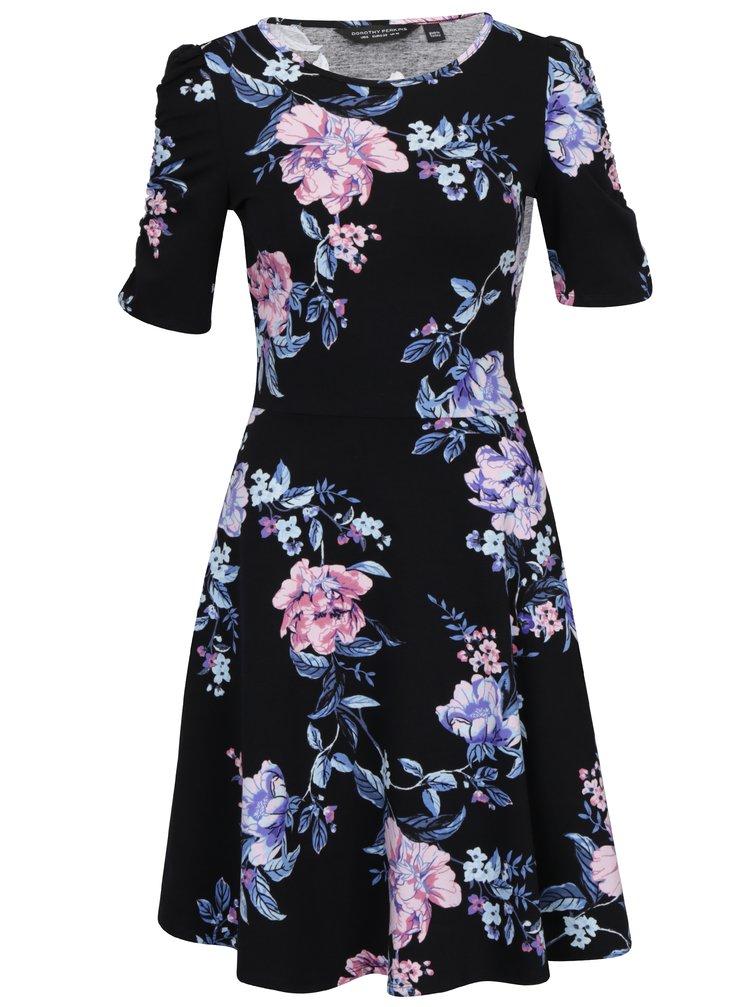 Modro-čierne kvetované šaty s krátkym rukávom Dorothy Perkins