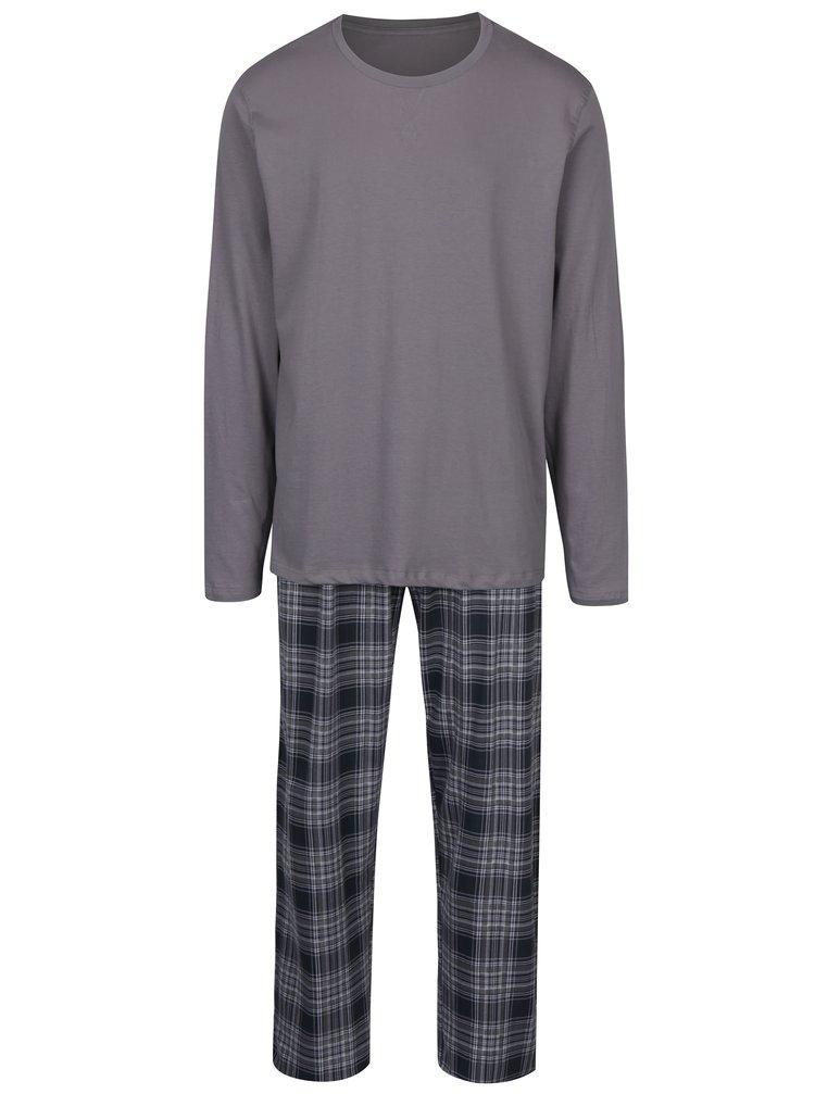 Šedé pánské kostkované pyžamo s dlouhým rukávem M&Co