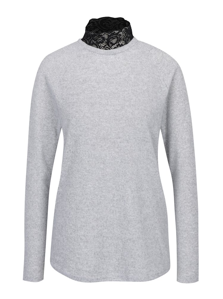 Světle šedý žíhaný svetr s krajkovým stojáčkem ONLY Elcos