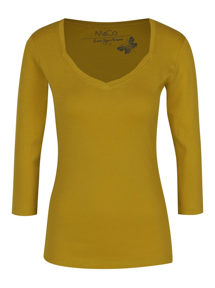 Hořčicové dámské tričko s tříčtvrtečním rukávem M&Co