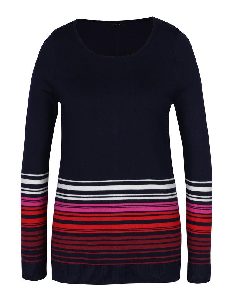 Tmavě modrý dámský svetr s pruhy a knoflíky na zádech M&Co