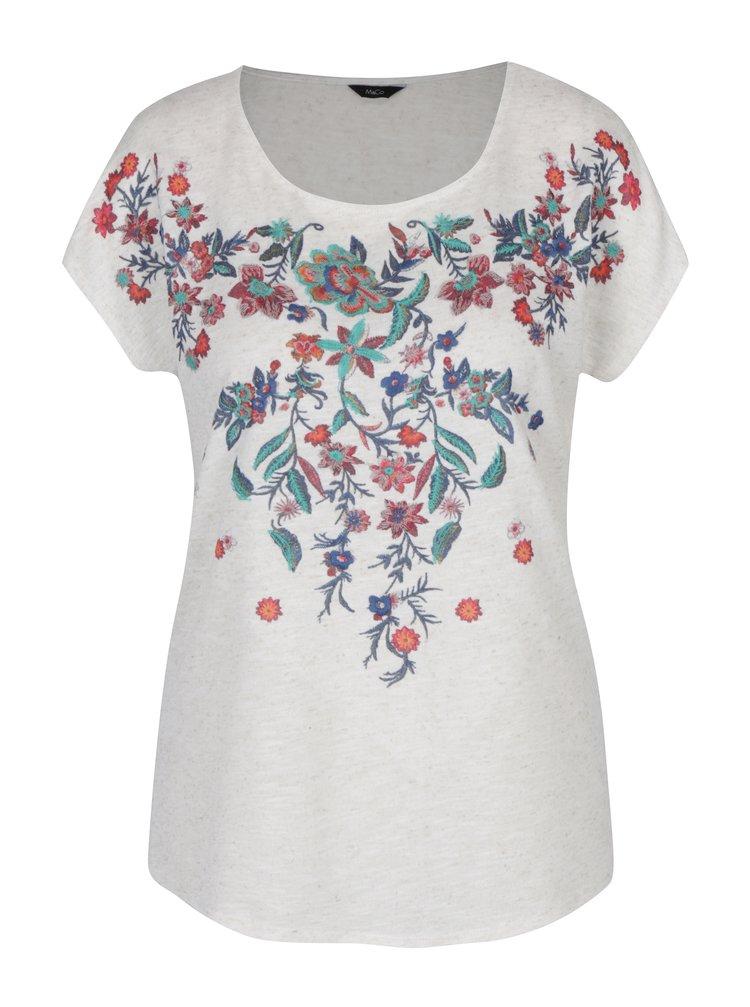 Krémové dámské žíhané tričko s výšivkami květin M&Co