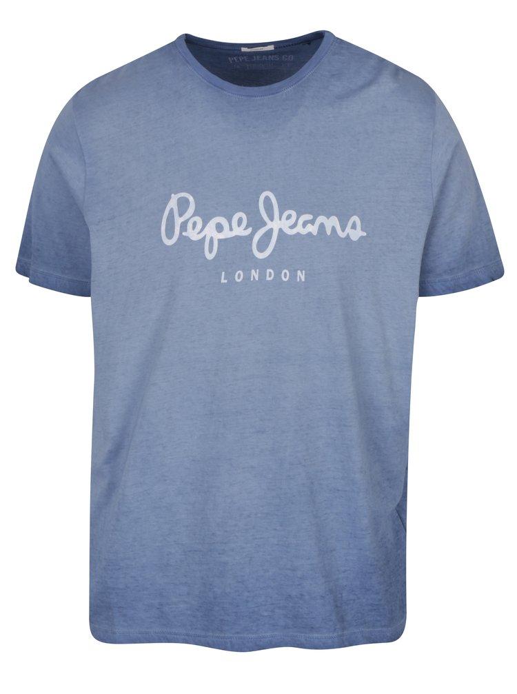 Tricou albastru cu logo print și aspect prespălat Pepe Jeans West Sir II