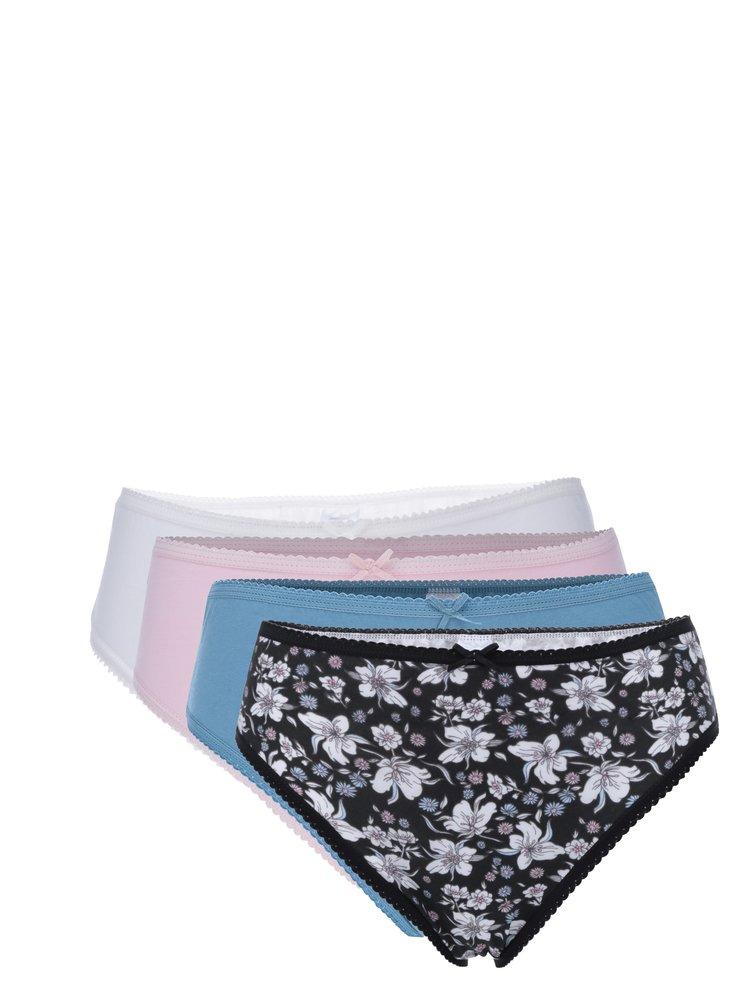 Sada pěti kalhotek v bílé, černé a růžové barvě M&Co