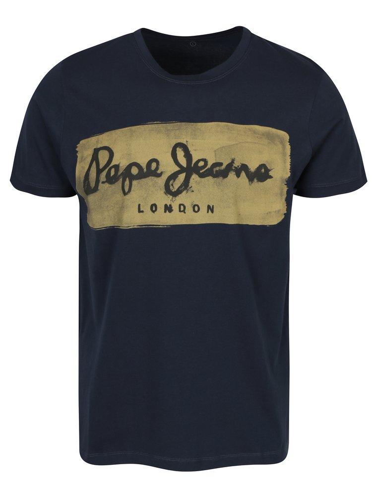 Tricou bleumarin din bumbac cu logo print Pepe Jeans Charing