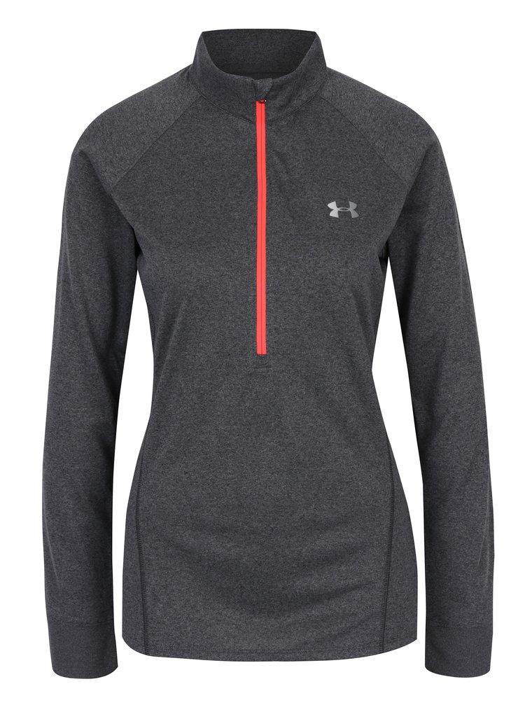 Bluza sport gri cu fermoar scurt pentru femei - Under Armour