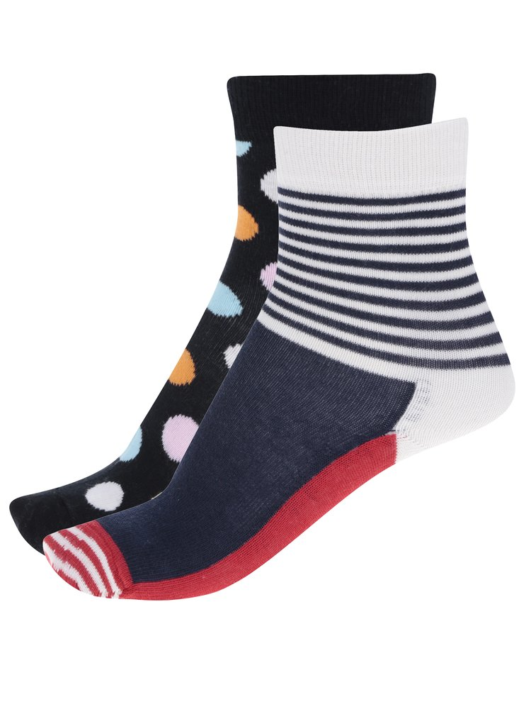 Sada dvou párů dětských vzorovaných ponožek v modré a černé barvě Happy Socks Big Dot