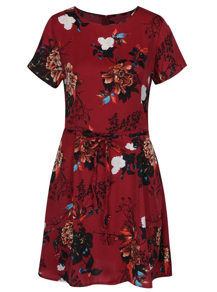 Vínové květované šaty se zavazováním ONLY Riga