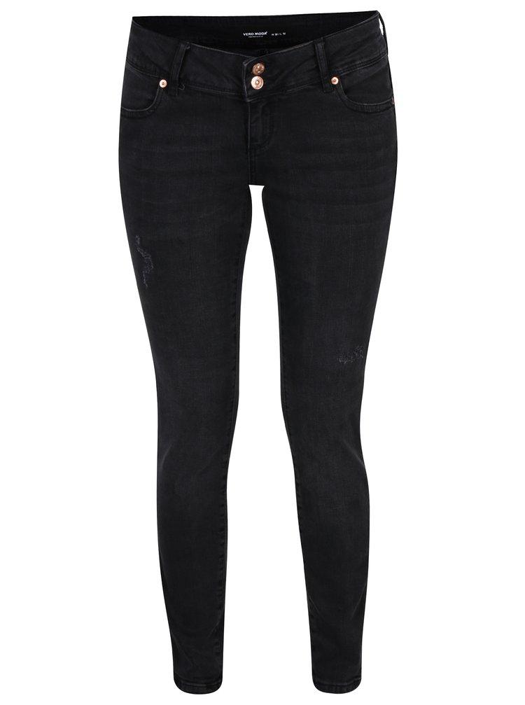 Tmavě šedé super slim džíny s nízkým pasem VERO MODA Five