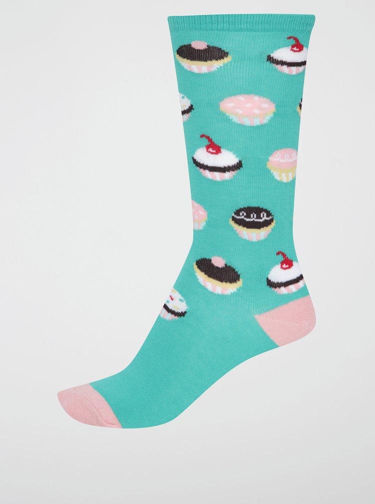 Zelené holčičí podkolenky s dortíky Sock It to Me Let Them Eat Cupcakes