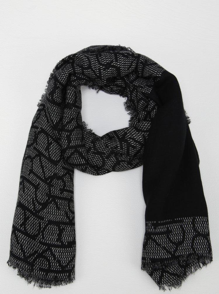 Černý vzorovaný šátek Calvin Klein Jeans Monogram