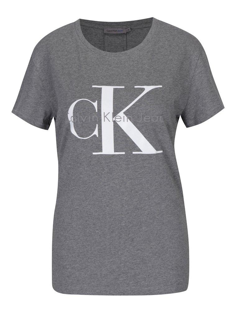 051e6dea4 Sivé dámske tričko s potlačou Calvin Klein Jeans Shrunken | ZOOT.sk