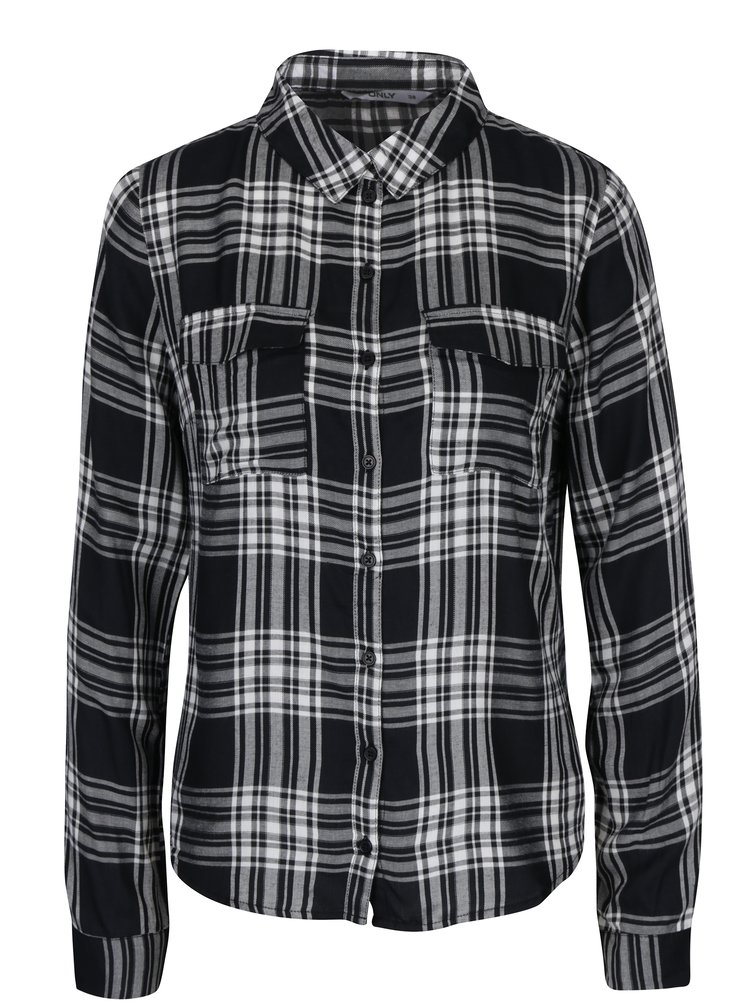 Bielo-čierna károvaná košeľa ONLY Sally Josefine