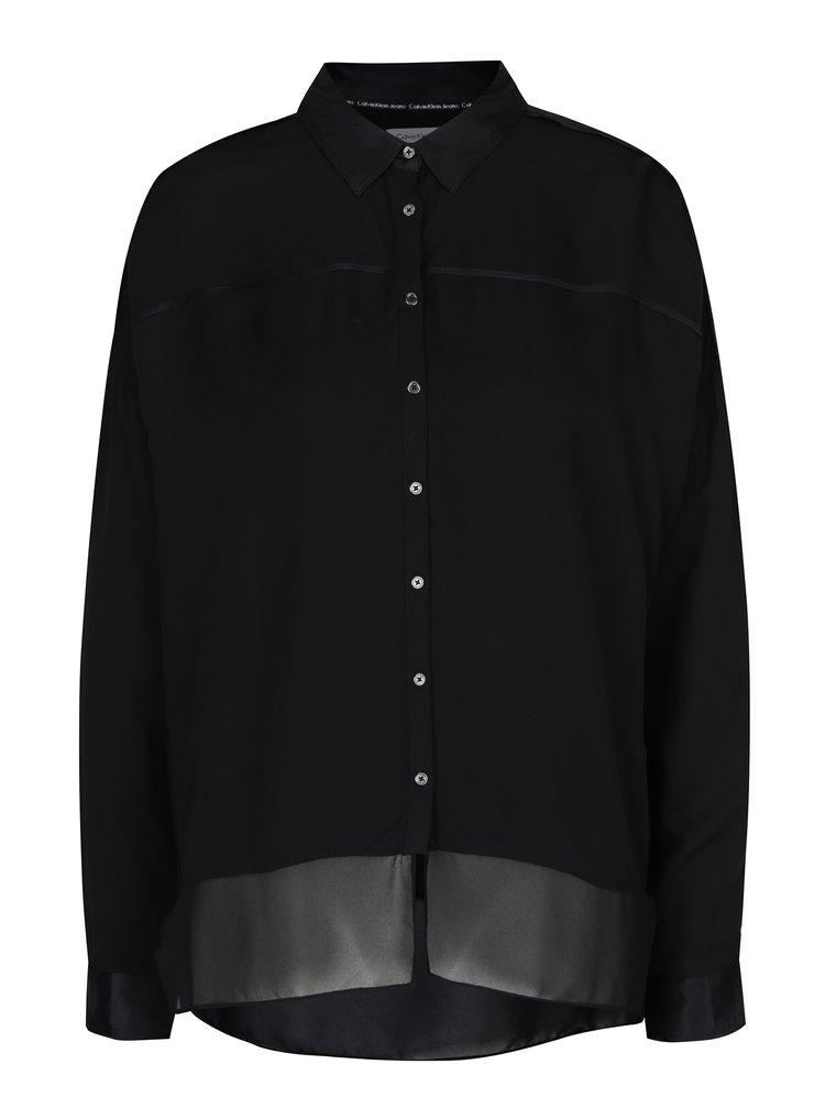 Černá dámská halenka s hedvábnými detaily Calvin Klein Jeans Wrai ... 865d398767
