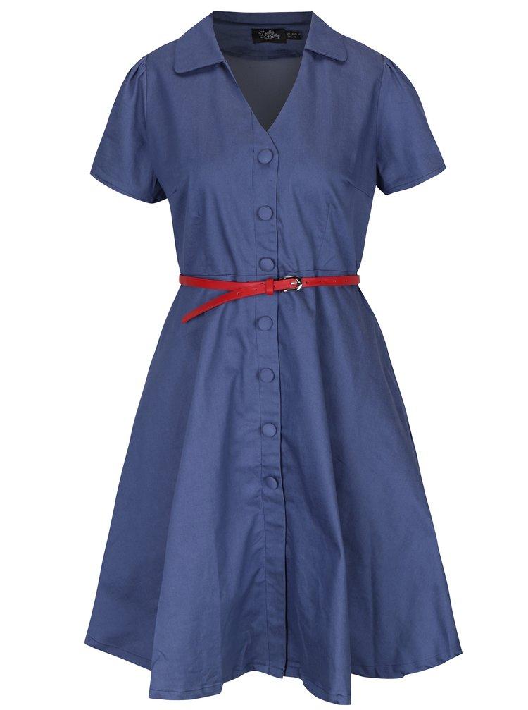Rochie - cămașă albastră cu nasturi și decolteu în V - Dolly & Dotty Janie
